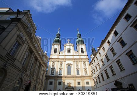 VIENNA, AUSTRIA - OCTOBER 10: Baroque Jesuits church. The church was built between 1623 and 1627. in Vienna, Austria on October 10, 2014.