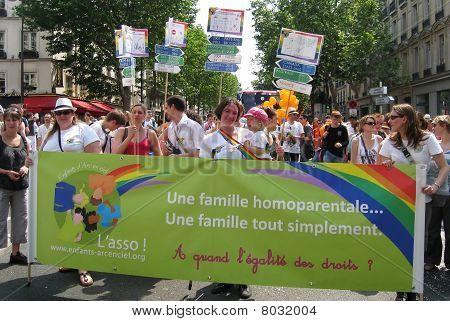 Homosexual Parents At Paris Gay Pride 2010