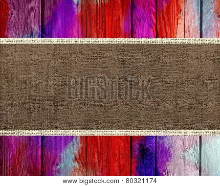 Old Canvas Textured with Paint Brush Stroke Wood Background