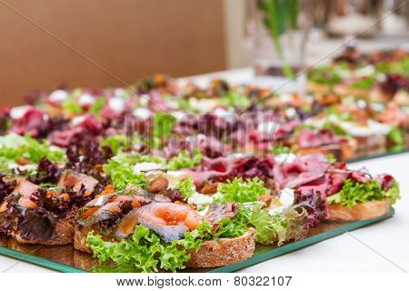 Tray with sandwiches with sea food.