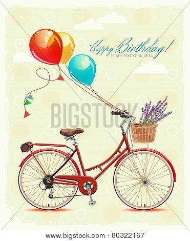 Birthday greeting card with bicycle