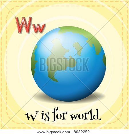 A letter W which stands for world
