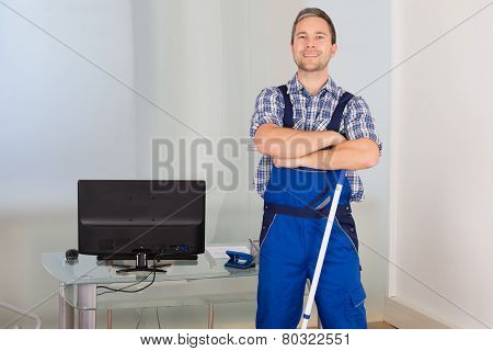 Confident Male Janitor