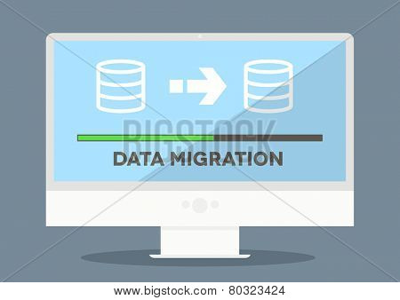 minimalistic illustration of a monitor with data migration progress screen, eps10 vector
