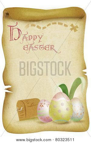 Vintage Happy Easter Themed Illustration with Eggs with Treasure Chest