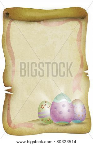 Vintage Easter Themed Paper with Eggs and Red Ribbon.