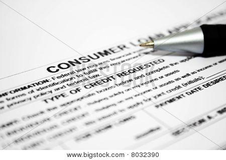 Pedido de empréstimo de consumo