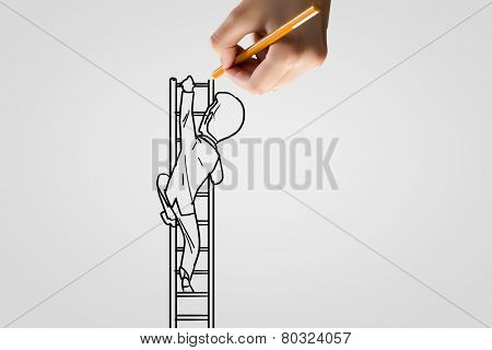 Human hand drawing caricature of man climbing ladder