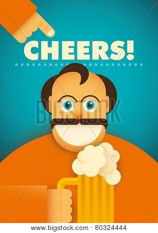Comic guy with glass of beer. Vector illustration.