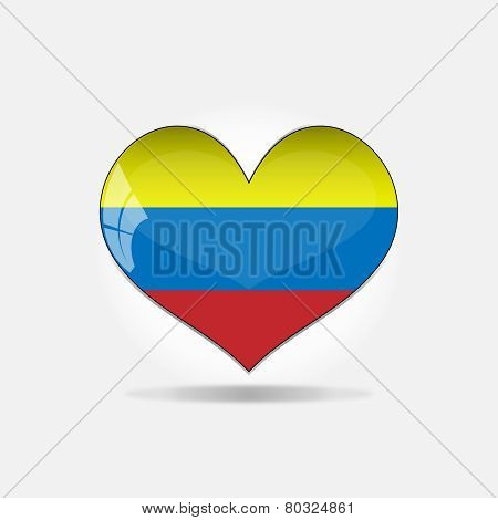 Vector - Colombia Flag Heart Glossy Button