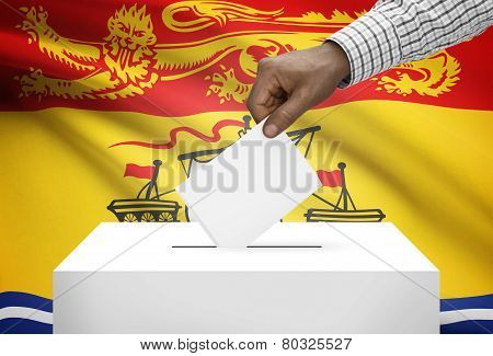 Voting Concept - Ballot Box With Canadian Province Flag On Background - New Brunswick