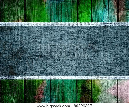 Burlap Fabric Canvas Textured with Paint Brush Stroke Wood Background