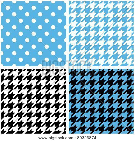 Blue, white and black pastel vector tile background set. Houndstooth and polka dots seamless pattern