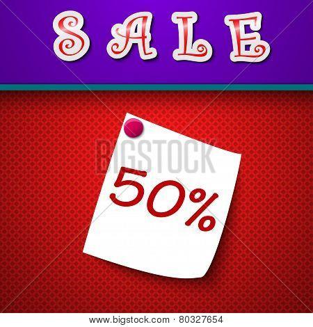 Sale. Discount 50 Percent. Sign. Vector