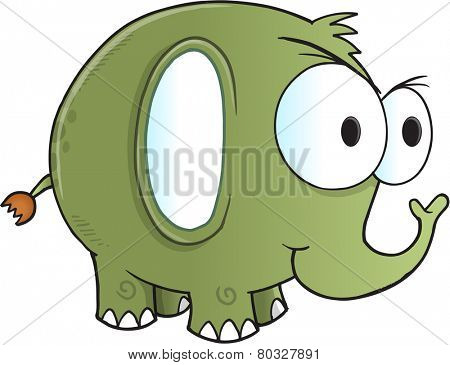 Tough Green Elephant Vector Illustration Art