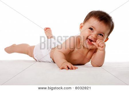 Happy Cute Baby Laying