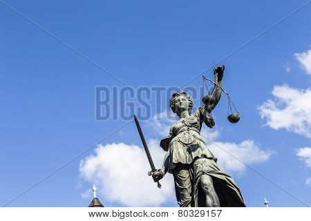 Statue Of Lady Justice  In Frankfurt, Germany