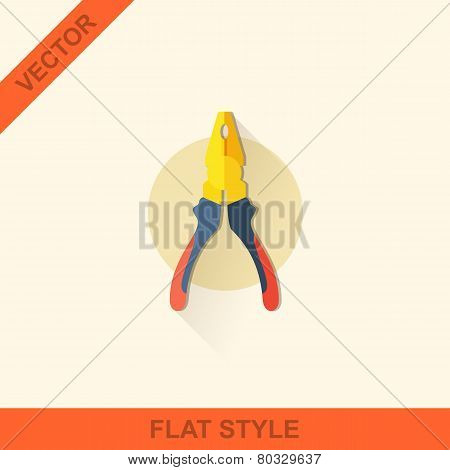 Vector Pliers In A Flat Style With Shadow.