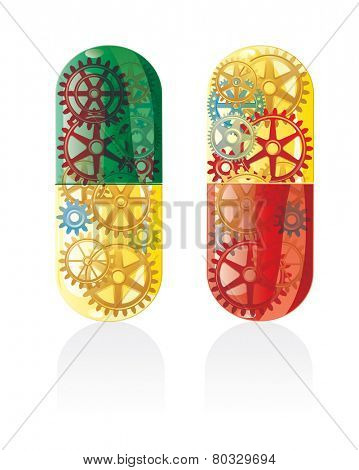 vector symbolic abstract illustration with futuristic color smart pills
