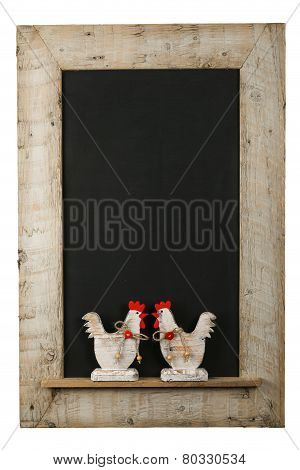 Vintage Easter Chicken Roosters Chalkboard Reclaimed Wood Frame Isolated On White