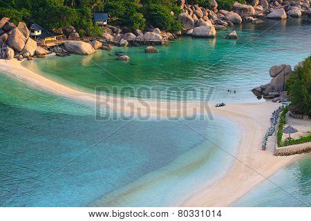 Top View Of White Sand Beach Of Nang Yuan Island Beautiful Destination Sea Heaven Place In Southern
