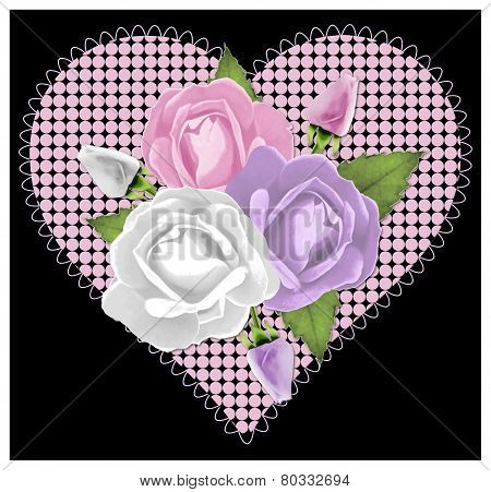 Three Roses on Black and Pink Lace Heart