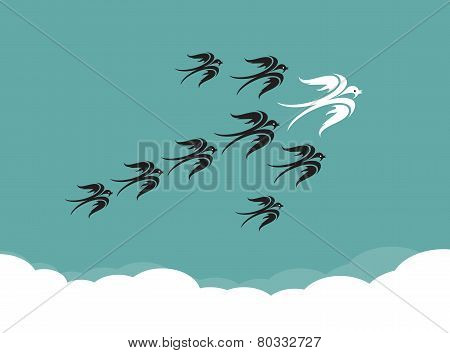 Flock Of Birds(swallow) Flying In The Sky