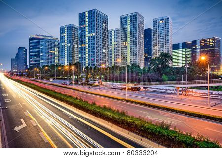 Beijing, China CBD Skyline and expressway.