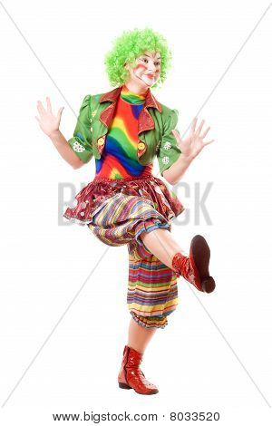 Cheerful Posing Female Clown