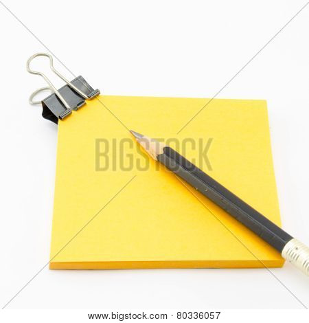 Orange Sticky Note With Pencil