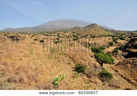 Volcano And Dry River Bank