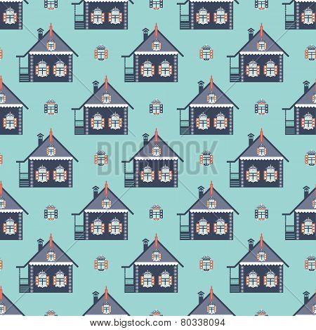 russian coutry house seamless pattern izba