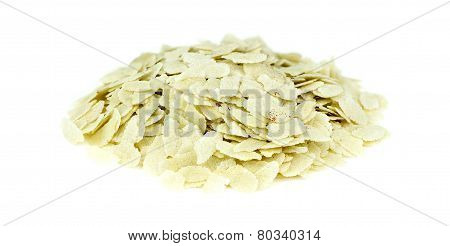 Heap Of Raw Puffed Rice Poha Isolated On White