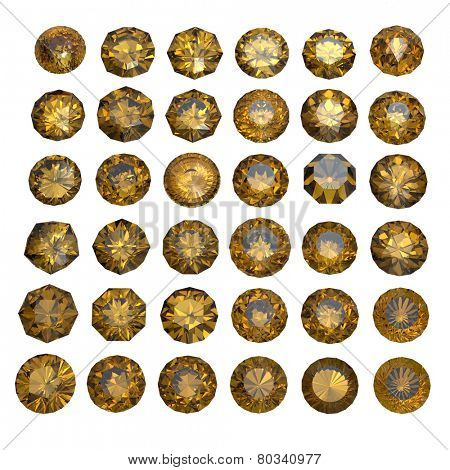 Round shape gemstone. Collections of jewelry gems