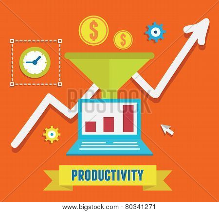 Flat Concept Of Productivity Business And Growth