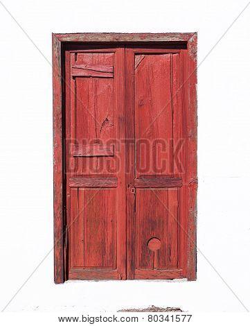 Red braun Canarian wooden door
