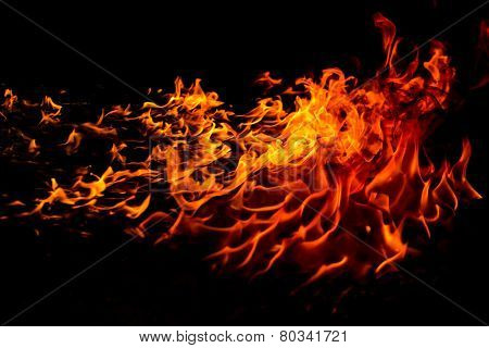 Bright and beautiful flame during the combustion of the resin