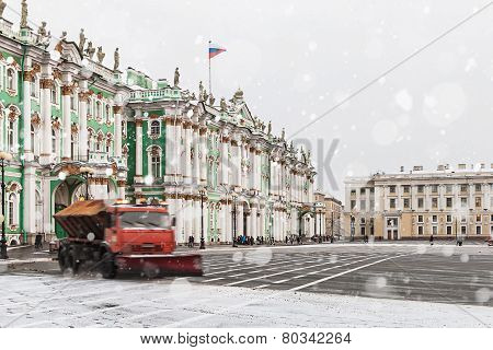 Snow Removal On The Palace Square In St. Petersburg. Russia