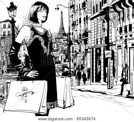 Women shopping in Paris - Vector illustration