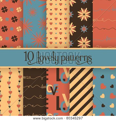 Set of 10 valentine's cute patterns
