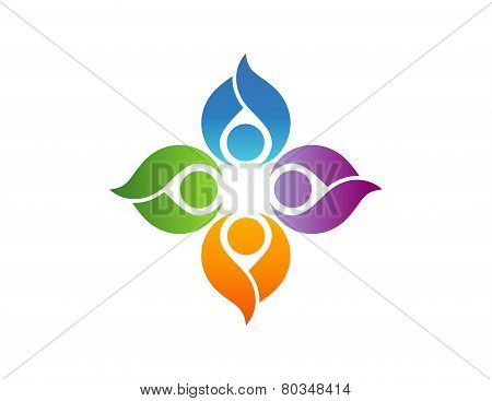 team work logo,people association club symbol,education team,health nature group icon
