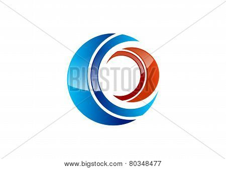 circle,optic,logo,eye,vision,sphere,vortex,letter C,O,symbol icon vector illustration