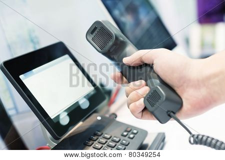 hand using videophone on exhibition.