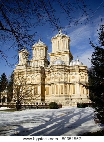 Curtea de Arges monastery in winter, Romania