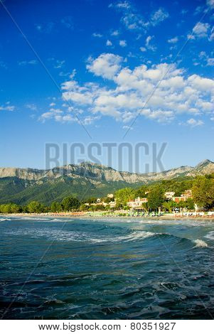 Golden beach, Thassos Island, Greece.