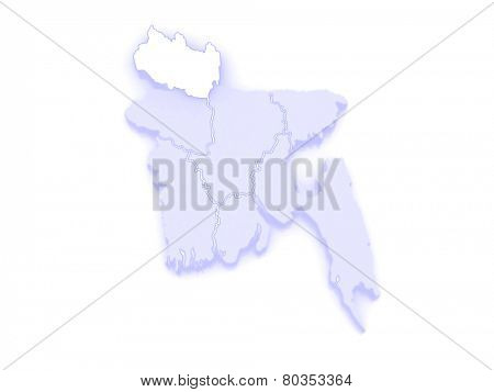 Map of Rangpur. Bangladesh. 3d