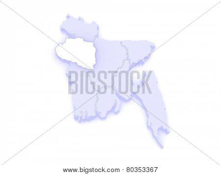 Map of Rajshahi. Bangladesh. 3d