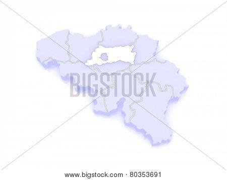 Map of Flemish Brabant. Belgium. 3d
