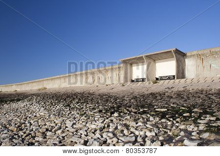 Shelter And Sea Wall On Canvey Island, Essex, England