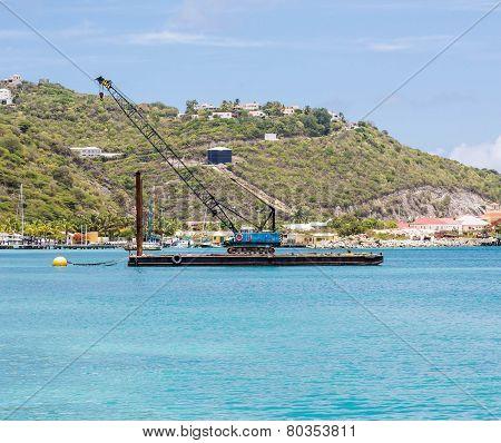 Blue Crane On Barge In Caribbean